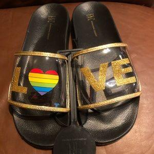 INC LOVE Clear Glitter Rainbow Sandals (New)